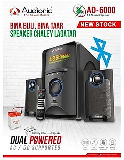 AUDIONIC AD-6000 - 2.1 Channel speakers - Black Full Base Speaker 1 Year WARRANTY USB and SD/MMC Card Woofers
