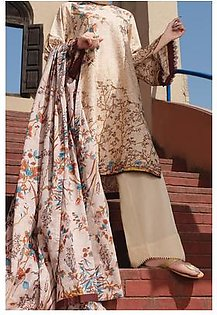 Almirah Summer Collection Vol: 03 LAWN Natural Ladies 03 PC Stitched Suit for Women