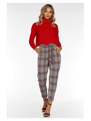 Quiz Black and Red Check Paper Bag Trouser Women - 00100023765