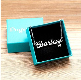 Personalized Jewelry Butter-fly Hang Tag Name Pendant and Chain For Women