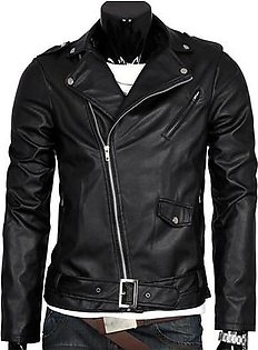 Men Leather Jacket Slim Fit Motorcycle Jacket Zipper Casual Coat Spring Autumn Winter