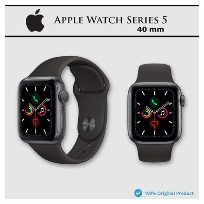 Apple watch series 5 40mm Space Gray Aluminum case Black Sport Band - Non Active 1 Year Apple Care International Warranty