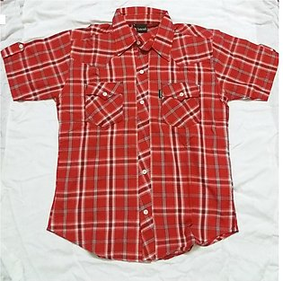Red Shirt with a Casual T-Shirt Combination for Men