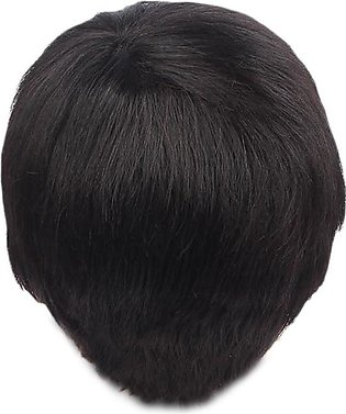Human Hair Toupee for Men Short Straight Synthetic Men Wigs with Side Bangs Hea…