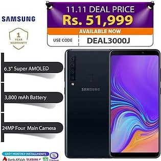 Samsung Galaxy A9 Mobile Phone - Display 6.3  FHD Display - 6GB RAM - 128GB ROM - Fingerprint Sensor