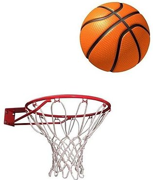 Basket Ball With Net - Standard Size - Multicolor