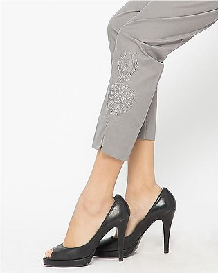 Grey Cotton Embroidered Cigarette Pant for Women AJ-651