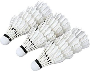Pack of 12 - Badminton Feather Shuttle  - White