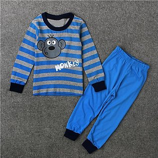 Male Children Spring And Autumn Monkey Animal Stripe Top + Trousers Home Wear T…