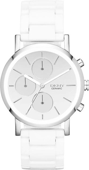 DKNY Lexington Chronograph Mirror Dial White Ceramic Watch for Women-NY8896
