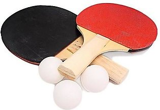 1 Pair Table Tennis Racket Ping Pong Paddle - Comes with 3 Balls - Black & Red