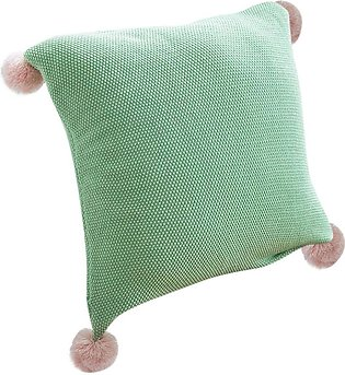 Cotton knitted pillowcase Decorative Throw Pillow Covers With Pom Poms 45x45cm