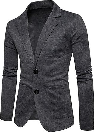 Men Coat Casual Solid Long Sleeve Turn-down Collar Jacket Outwear