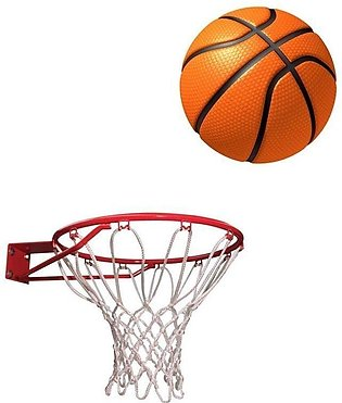 Basket Ball with Net - Standard Size - Orange