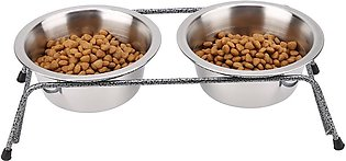 Stainless Steel Pet Dog Double Feeder Cat Food Water Bowls Stand Small