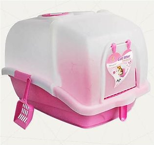 EnClosed Large Plastic Cat Litter Box with scoop