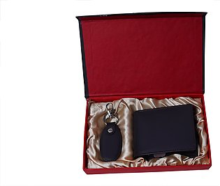 Genuine Leather Wallet + Leather Key-Chain Gift Set - Coffee