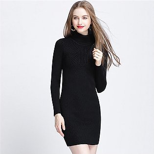 Women Autumn Winter Sweater Dress Slim Turtleneck fashion Bodycon Solid Color...