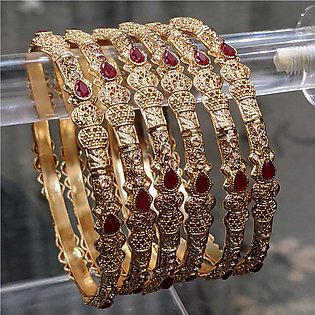 ZA jewellery 6 Gold Plated Bangles For Woman