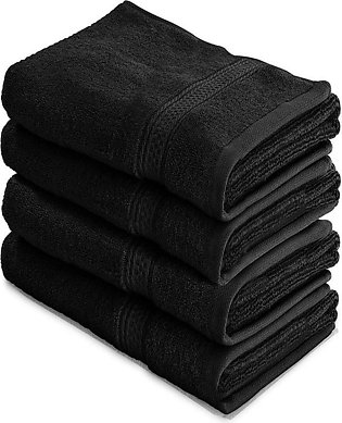 Fast Forward Export Quality Cotton Large Hand Towels (Black, 4-Pack,16 x 28 inc…
