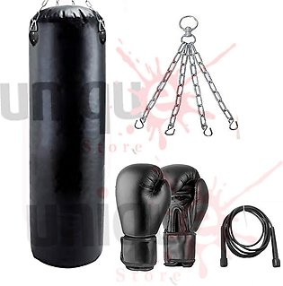 Boxing Punch Bag, hanging chain,jump rope Boxing gloves 12oz, 3ft Height Unfill…