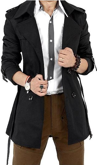 Men Windbreaker Long Fashion Jacket with Double-breasted Buttons Lapel Collar...