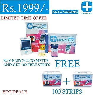 EasyGluco Blood Glucose Meter with 100 free strips package