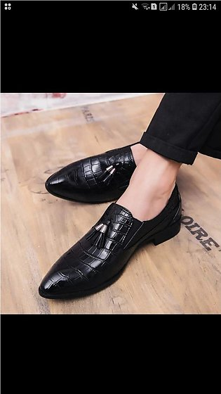 Italian Dress Shoes Man Tassel Loafers Leather Business Suit Shoes Pointed To...