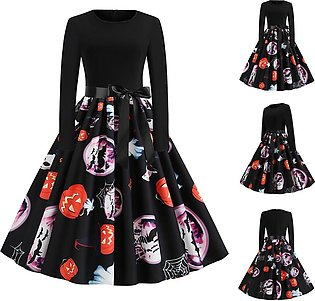 Halloween Women Dress Pumpkin Print Dress Round Neck Zipper Hepburn Party Dress