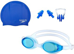 Pack of 3 - Swimming Glasses Goggles Nose Clip Ear Plug Set & Swimming Cap with…
