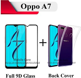 Oppo A7 Full 9D Edge to Edge(Full Glue) Tempered Glass Screen Protector + Trans…