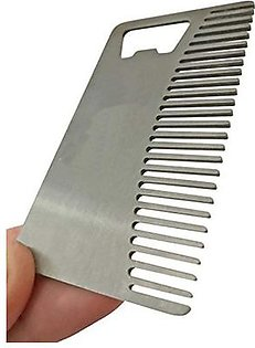 Metal Beard Comb and Bottle Opener - Ideal for Oils & Balms Silver