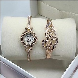 Ladies Watch With Bangle  with box
