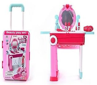 Fashion You Beauty Play Set Toy Mirror Durable Dressing 2 in 1 Little Luggage with Music Sound and Light Toys for Kids