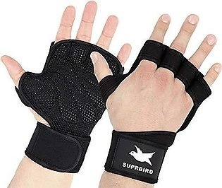 Fitness Gym Gloves Padded Silicon Grip Protection Wrist Wrap Wraps Hand