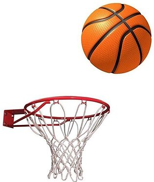 Basket Ball with Net - Standard Size - White & Orange