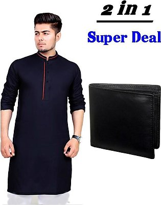Pack of 2 - Black Mix Cotton Kurta And Black Leather Wallet For Men