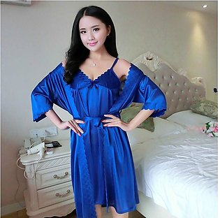 Nighty New Style Short Ladies Gown Night Suit And Casual Dress Blue Colour