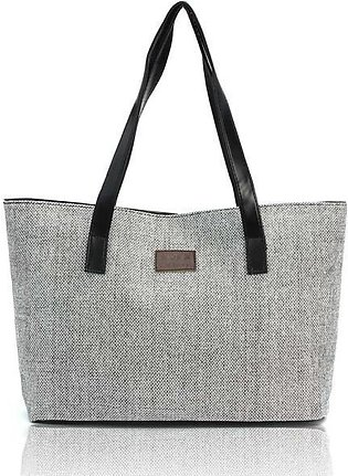 Linen Casual Totes Black Women Fashion Canvas Hand Shoulder s Shopping Bag