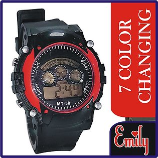 EMILY Special 7 Color Led Changing Light Sports Watch