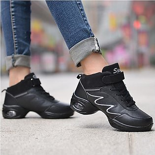Fashion Women Leather Soft Sole Breathable Lace Up Sport Dance Jazzy Shoes Athl…