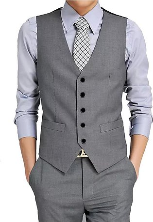 Men Suit Vest V-Neck Single-breasted Solid Color Business Party Wedding Waistco…