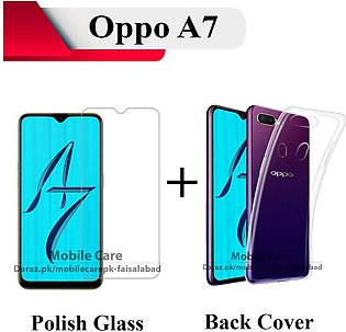 Oppo A7 Tempered Glass Screen Protector Polish Glass + Transparent Back Cover C…