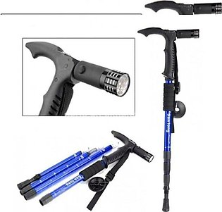 Adjustable Hiking Walking Stick with Torch-Blue