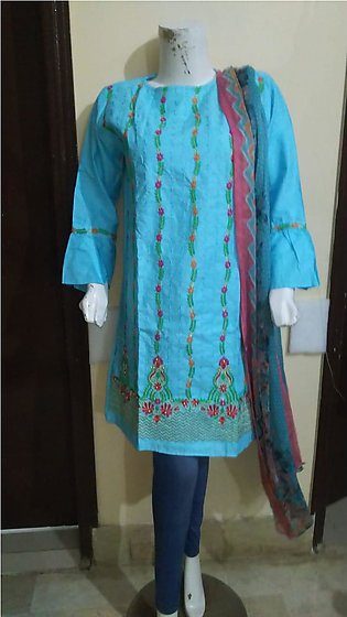 Light blue color embroidered & stitched three piece suit for females stuff co...