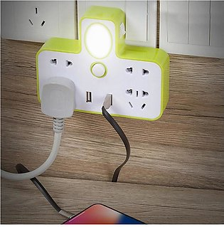 3 Plug Power Extension with Light and USB charging