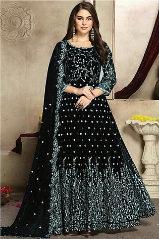 Fancy Chiffon Embroidered Mirror work Maxi For Women