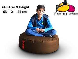 Round Floor Cushion XL Size with Bean Bag With Bean Filling Shine Brown