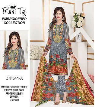 Unstitched Printed & Embroidered Neckline 3pc Linen Suit with Wool Shawl for ...