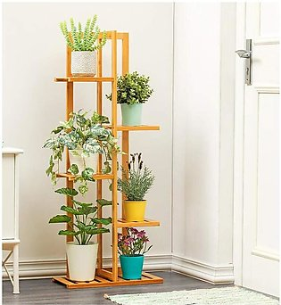 MZN Flower Pot Storage Wooden Plant Rack 4 layer